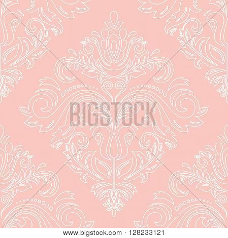 Oriental vector classic pattern. Seamless abstract pattern. Nice pattern with repeating elements. Pink and white pattern. Fine pattern with white outlines