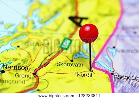 Nordli pinned on a map of Norway