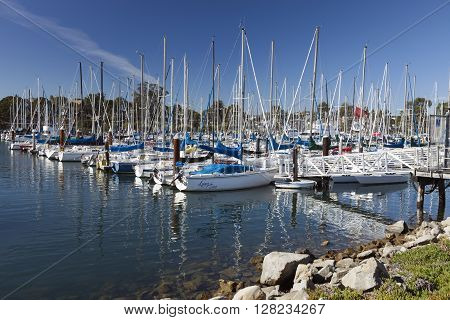 Santa Cruz California USA-November 8 2014 : Sailboat harbor in Santa Cruz constructed in 1964 and expanded in 1973 the harbor provides over 800 permanent slips.