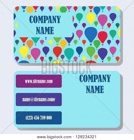 Business card template with a background from multi-colored balloons and concise design.