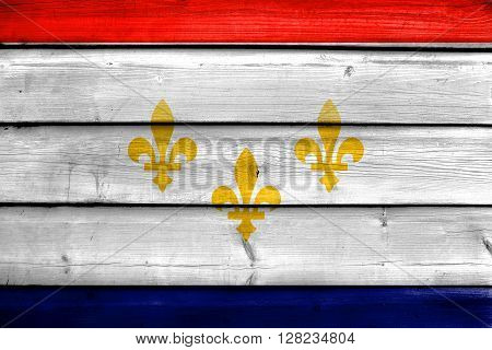 Flag Of New Orleans, Louisiana, Painted On Old Wood Plank Background