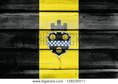 Flag Of Pittsburgh, Pennsylvania, Painted On Old Wood Plank Background