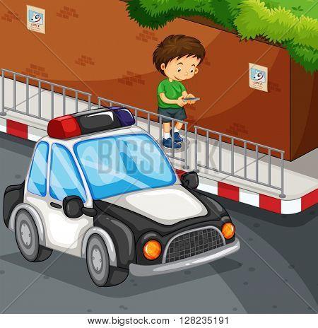 Boy typing on mobile phone on street illustration