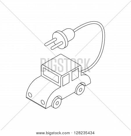 Electric car icon in isometric 3d style on a white background