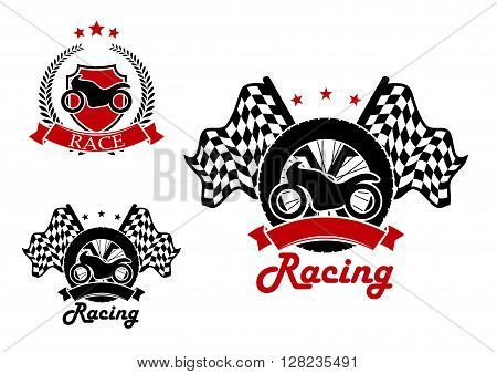 Motorcycle with a tire and race flags on the background and heraldic shield with motorbike icons for motosport and racing design, adorned by black and red ribbon banners and laurel wreath