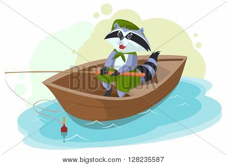 Raccoon in boat fishing. Scout fisherman. Cartoon illustration in vector format
