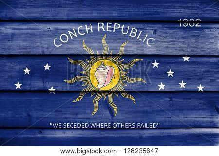 Flag Of The Conch Republic (key West, Florida), Painted On Old Wood Plank Background
