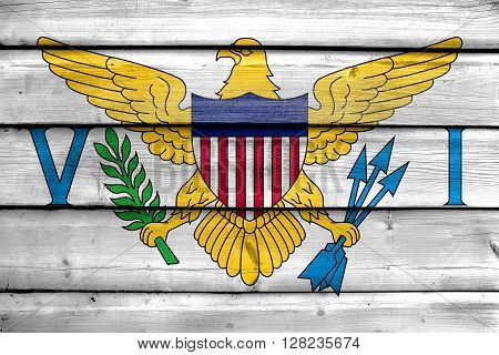 Flag Of The U.s. Virgin Islands, Painted On Old Wood Plank Background