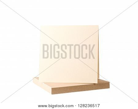 handmade biege paper box. Craft and scrapbook
