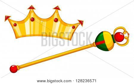 Golden mace and crown illustration