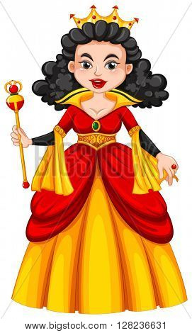 Queen in red and yellow dress illustration