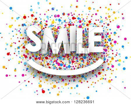 Smile paper background with color drops. Vector illustration.