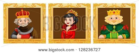 Kings and queens in photo frames illustration