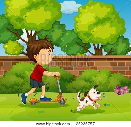 Boy riding on scooter in the yard illustration