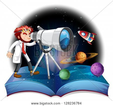 Scientist looking at the telescope illustration