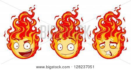 A vector illustration set of hot and pretty fire emotions 3 items