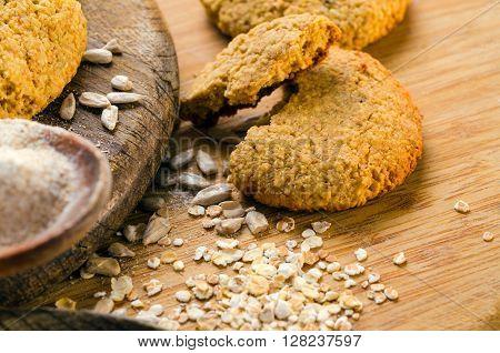 Fresh baked homemade oatmeal cookies. healthy food