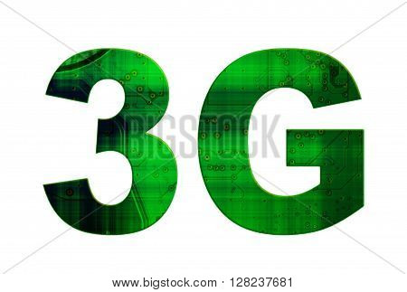 Isolated Green And Black Text 3G On White Background