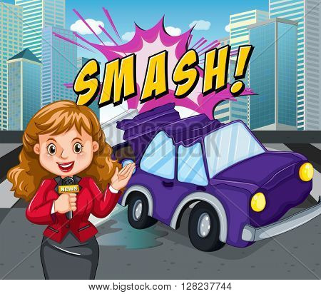 News reporter reporting car accident illustration