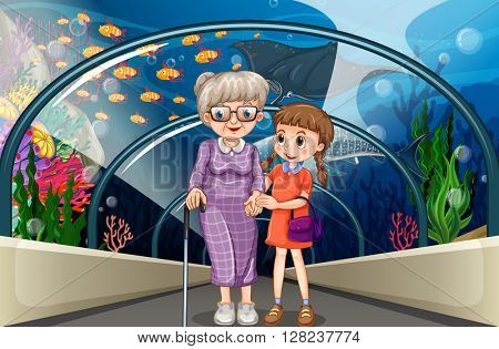 Grandmother and kid at aquarium illustration