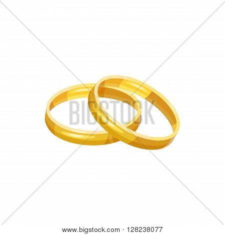 Wedding rings icon in cartoon style on a white background