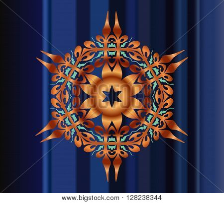 Abstract illusion texture pattern lines in the form of a convex symmetrical pattern in a square on a blue gradient background