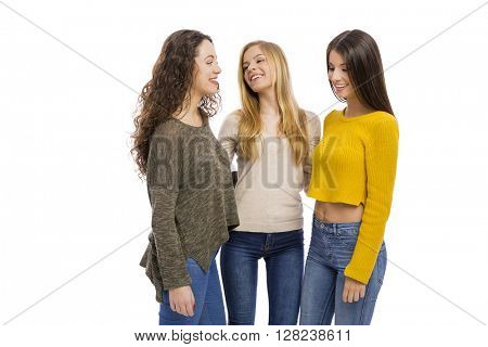 Group of teenage friend talking to each other