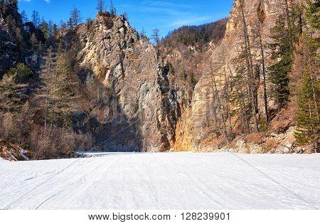 Rocks Mountain Canyon In Eastern Sayan