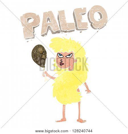 freehand retro cartoon woman on paleo diet