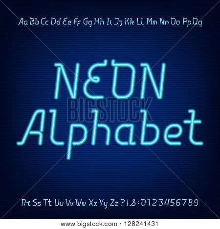 Neon alphabet font. Blue neon lowercase, uppercase letters and numbers on a dark background. Vector typeface for labels, titles, posters etc.