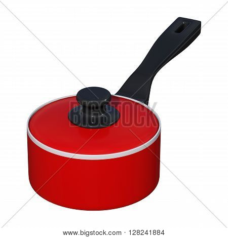 3D rendering of a red saucepan isolated on white background