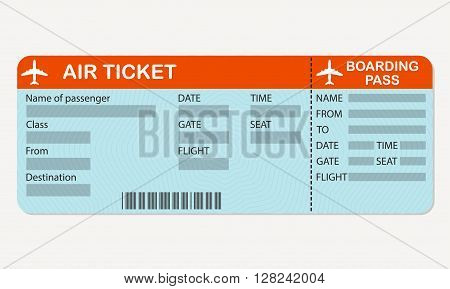 Airline boarding pass ticket. Detailed blank of airplane ticket. Colorful vector illustration.