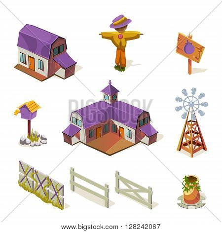 Farm Elements Set Simplified Cute Illustration In Childish Colorful Flat Vector Design Isolated On White Background