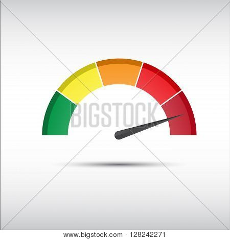 Color vector tachometer speedometer and performance measurement icon illustration for your website infographic and apps