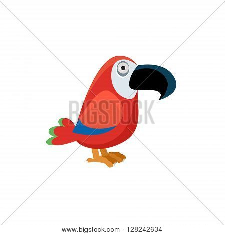 Scarlet Macaw Funny Childish Cartoon Style Flat Vector Illustration In Bright Colors Isolated On White Background