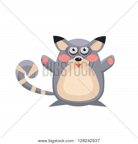 Lemur Funny Childish Cartoon Style Flat Vector Illustration In Bright Colors Isolated On White Background