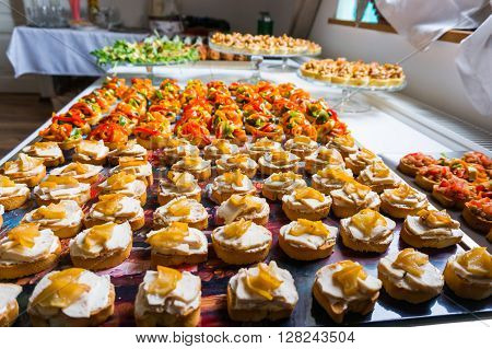 Different catering food specialties for a special event