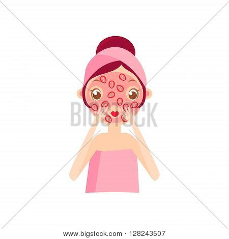 Girl Doing Fruit Mask Portrait Flat Cartoon Simple Illustration In Sweet Gitly Style Isolated On White Background
