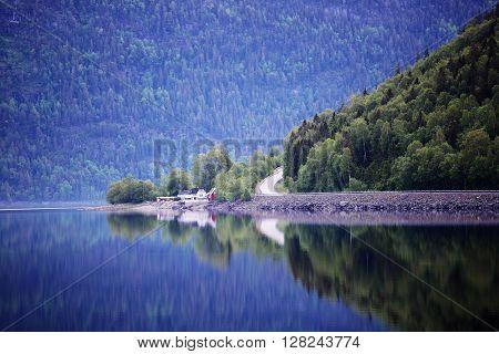 Mountain Road Near Fjord