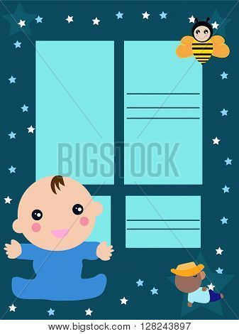 Baby card invitation, baby shower , cartoon representing