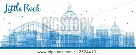 Outline Little Rock Skyline with Blue Buildings. Business travel and tourism concept with modern buildings. Image for presentation, banner, placard and web site.