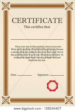 Certificate or Diploma of completion design template with borders. Vector illustration of Certificate of Achievement, coupon, award, winner certificate.
