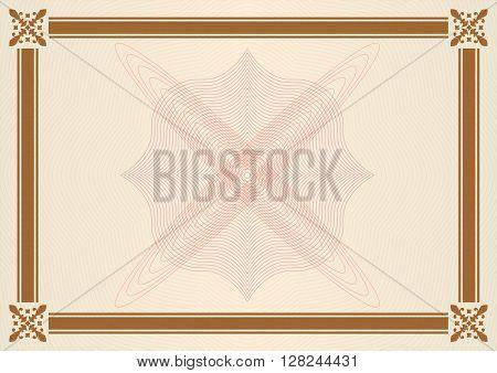 Ornamental frame or border. Certificate, diploma or voucher template. Ornamental pattern for wedding invitations, greeting cards. Design element for decorations. Vector illustration.