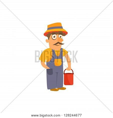 Farmer Simplified Cute Illustration In Childish Flat Vector Design Isolated On White Background