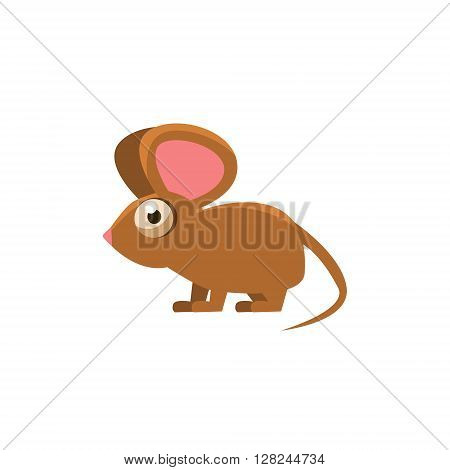 Mouse Simplified Cute Illustration In Childish Flat Vector Design Isolated On White Background