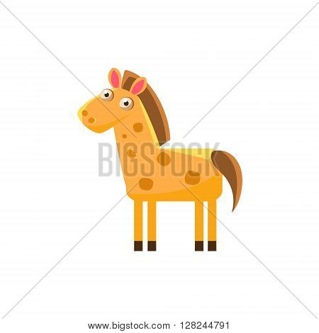 Horse Simplified Cute Illustration In Childish Flat Vector Design Isolated On White Background