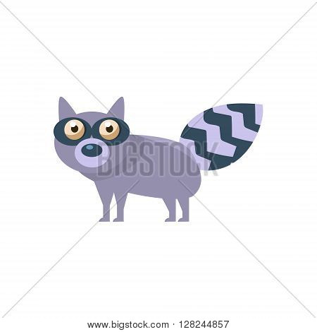 Raccoon Simplified Cute Illustration In Childish Flat Vector Design Isolated On White Background