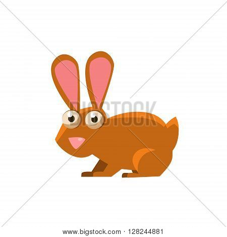 Hare Simplified Cute Illustration In Childish Flat Vector Design Isolated On White Background