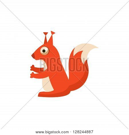 Squirrel Simplified Cute Illustration In Childish Flat Vector Design Isolated On White Background