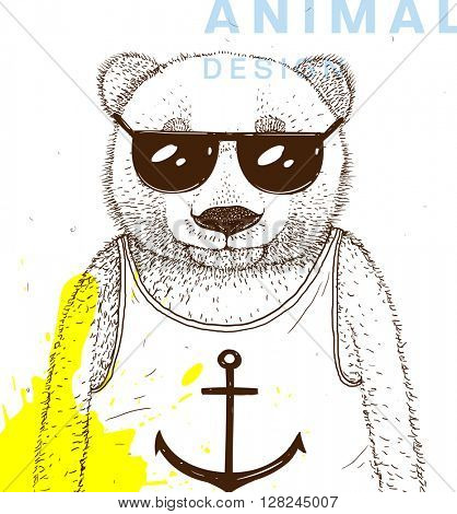 Hand Drawn Bear with Sunglasses and Shirt with Anchor Print. Vector Graphic Illustration.